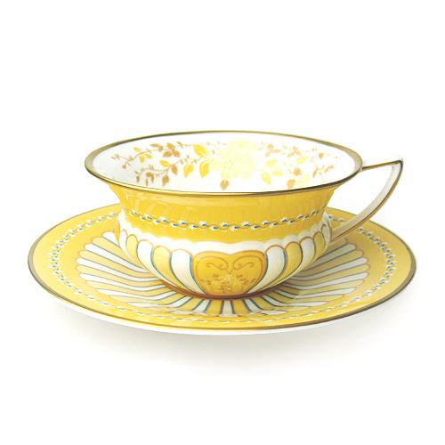 【ウェッジウッド】ハーレクィーンコレクション「イエローリボン」 ティーカップ/ソーサー